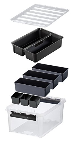 orthex 3598090 aufbewahrungssystem box 15 mit 7 schwarzen einsaetze premium qualitaet transparent - Orthex 3598090 Aufbewahrungssystem, Box 15 mit 7 schwarzen Einsätze Premium Qualität, transparent