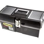 Stanley Werkzeugbox Metall Latch 16″, gummierte Metallschließen, ergonomischer Komfortgriff, Organizer, 1-94-857