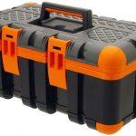 Werkzeugkoffer Werkzeugkiste Werkzeugkasten Werkzeugbox Kunststoff Werkzeug 50x30x22 cm orange schwarz gummierte Ecken