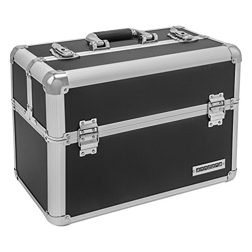 51p+yqP7qwL - anndora® Werkzeugkoffer 24L Präsentationskoffer Etagenkoffer Schwarz + Schlüssel