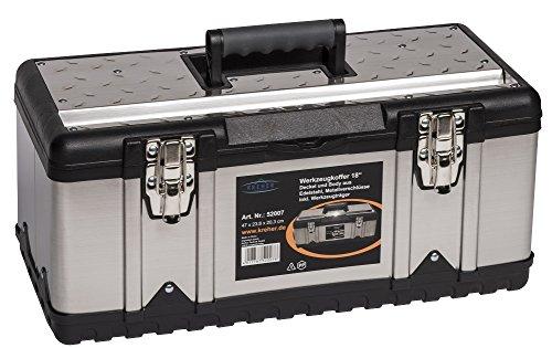 XL Werkzeugkoffer PROFI 18 aus Edelstahl mit robustem Kunststoff Rahmen und - XL Werkzeugkoffer PROFI 18 aus Edelstahl mit robustem Kunststoff-Rahmen und herausnehmbaren Werkzeugträger. Mit Metallverschlüssen, abschließbar. Maße: 47 x 23,8 x 20,3 cm